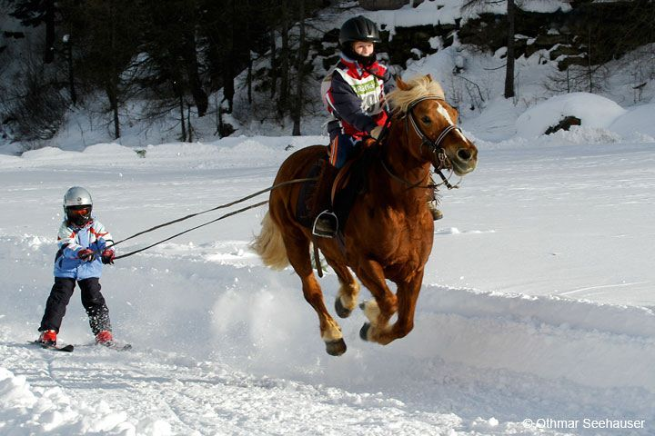 Pony-skiing. Or flying...LOVE THIS!!