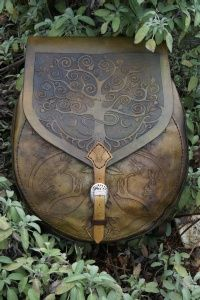 supple drum bag / rucksack with design of reindeer antlers, bees and ash leaves http://www.skyravenwolf.com/index.php
