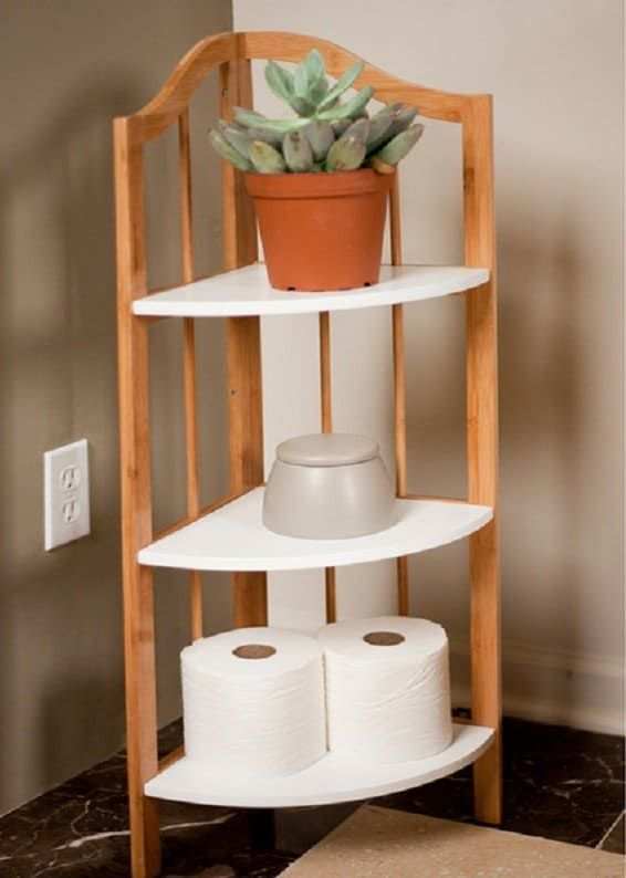 Bathroom Corner Cabinet Bamboo