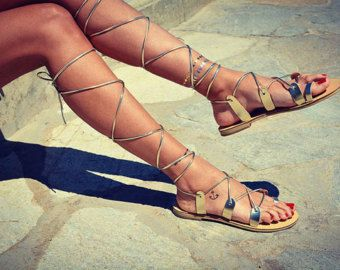 extra long gladiator sandals  Strappy sandals   long spider