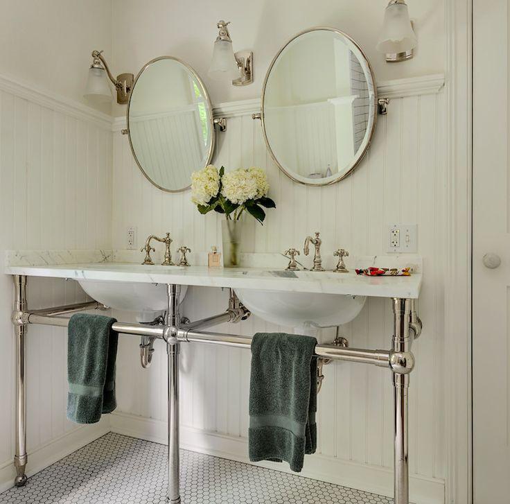 cottage bathroom mirror ideas. love these swivel mirrors and side sconces. massachusetts farm house - farmhouse bathroom new york crisp architects mirrors, lights cottage mirror ideas e
