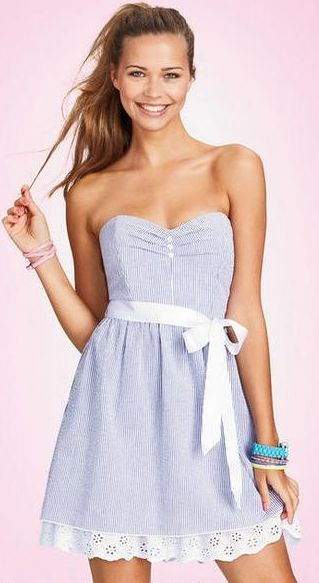 Super cute seersucker dress! I would wear a white shrug with this adorable dress.