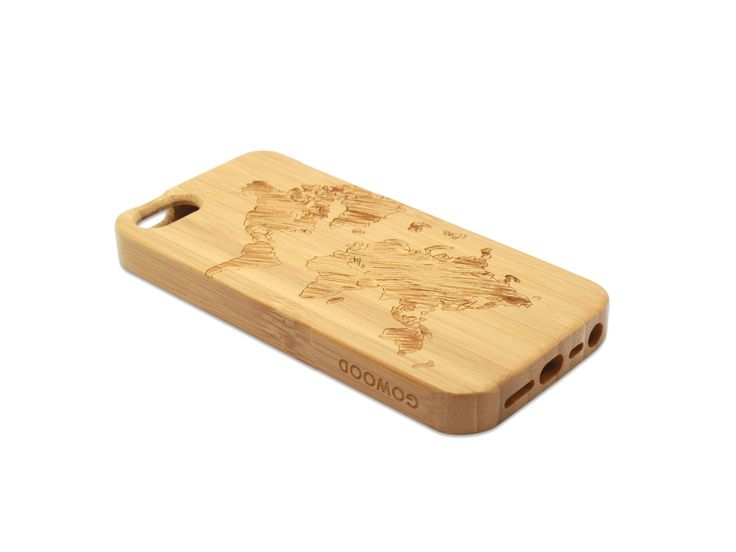 iPhone 5 and iPhone 5S phone case in bamboo with a beautiful art design of the world map on the back of the case | Go Wood #iPhone #iPhone5 #iPhone5S #woodcase #phonecase #iphonecase #woodenphonecase #worldmap #travel #bamboo