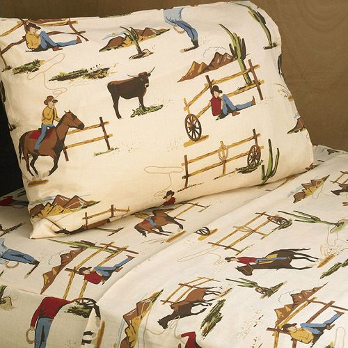 Twin / Queen Sheet Sets for Wild West Cowboy Western Teen and Kids Bedding Sets - Horse Print