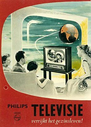 """Philips Television enriches family life!"" Dutch 1950s vintage advertisement."