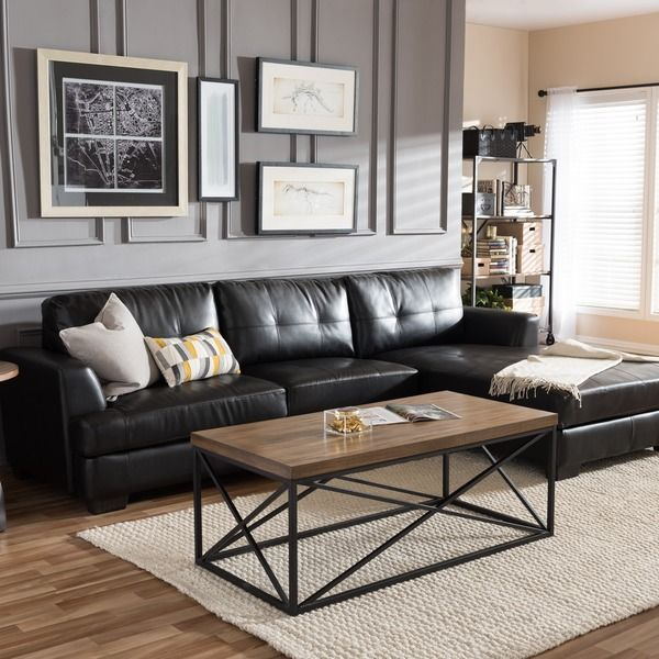 Dobson Black Leather Modern Sectional Sofa By Baxton Studio