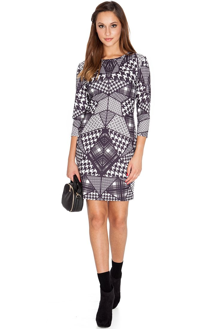 HOUNDSTOOTH CHECK PLACEMENT PRINT DRESS #citygoddess #citygoddesswholesale #wholesale #mididress #casualdress #fashion #dress