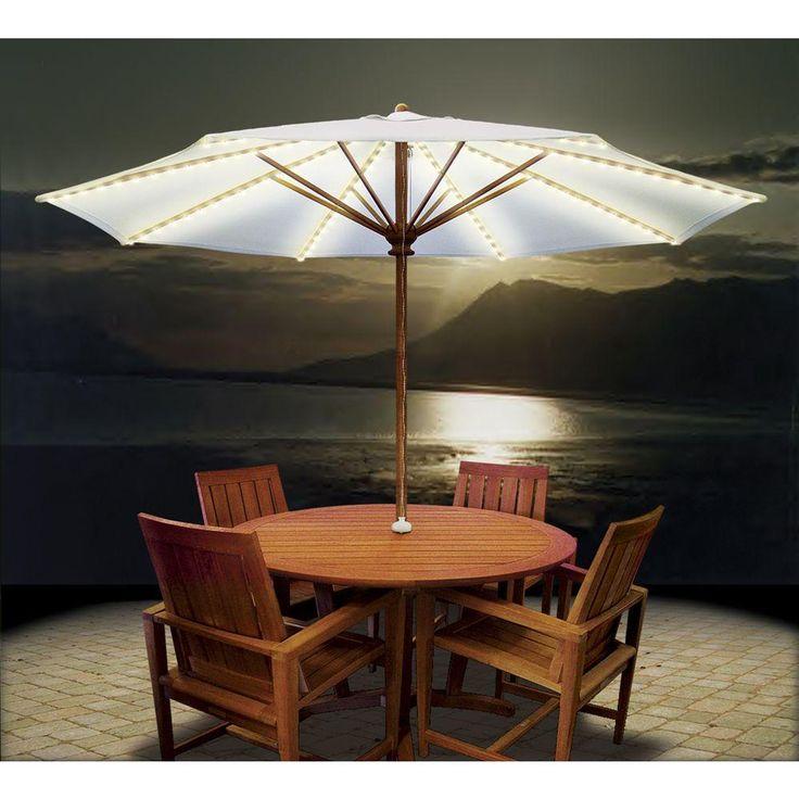 Cool Patio Umbrella Lights: Patio Umbrella Lights White Night ~ Exterior  Inspiration