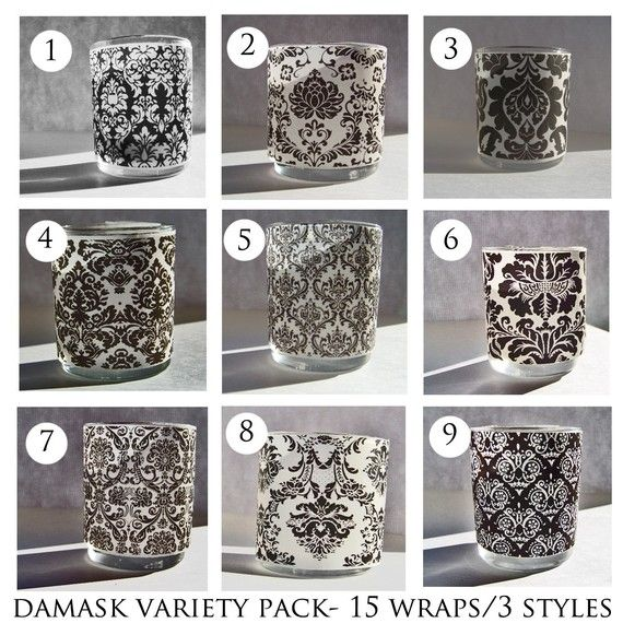 Damask Votive Candle Wraps Variety Pack 30 wraps in by DamaskDiva, $20.00: 30 Wraps, Damasks Votive, Damasks Candles, Candles Wraps, Candles Holders, Damasks Quinceanera Ideas, Packs 30, Damasks Tape, Pink Candles