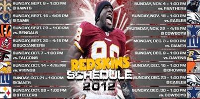 2012 Redskins Schedule.