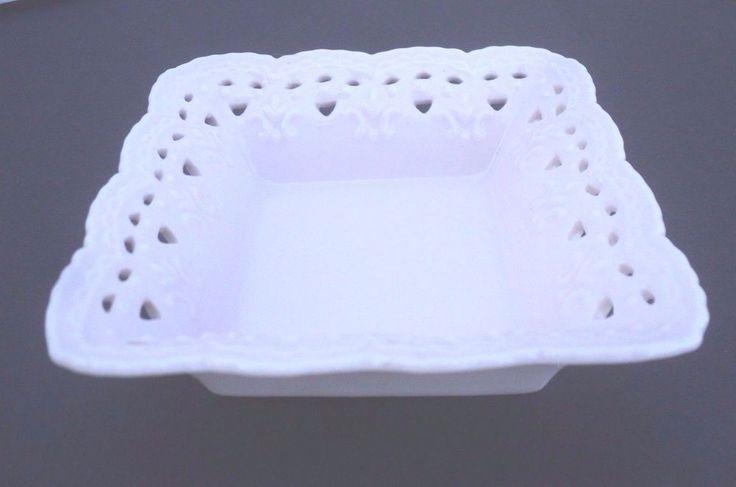 "Skye McGhie PINK Cream Lace Porcelain Trinket Vanity Dish 4 1/4"" Square 2004"