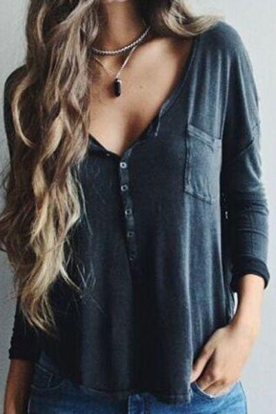 V-Neck Button Pocket Design T-Shirt