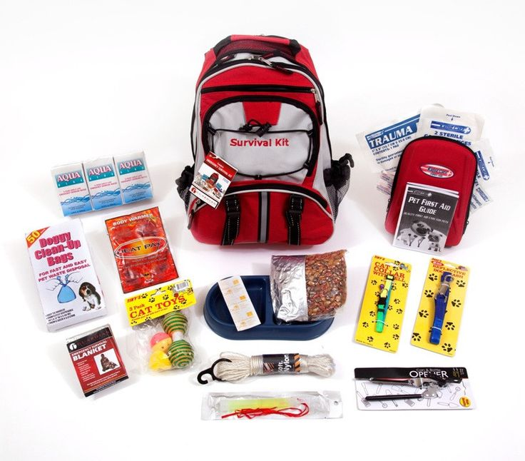 "72 Hour Cat Survival Kit- FAMILY STOREHOUSE- This Cat Survival Kit is packaged in our red Backpack with the words ""Survival Kit"" on it and has been designed to provide your pet with all of the necessary items to survive if you are ever forced to evacuate.  By owning this survival kit, you will have peace of mind knowing that your cat will be safe and comfortable in any type of disaster."