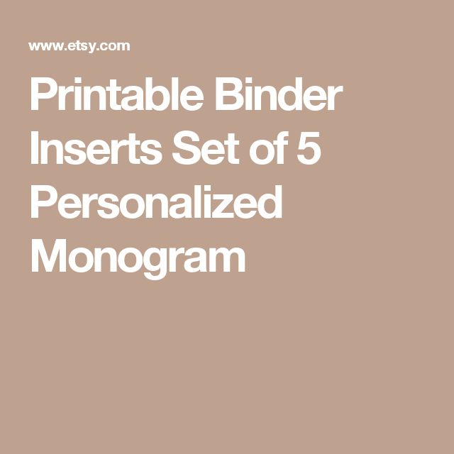 Printable Binder Inserts Set of 5 Personalized Monogram