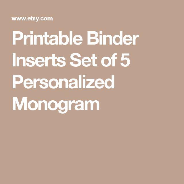 Printable Binder Inserts Set of 5 Personalized Monogram