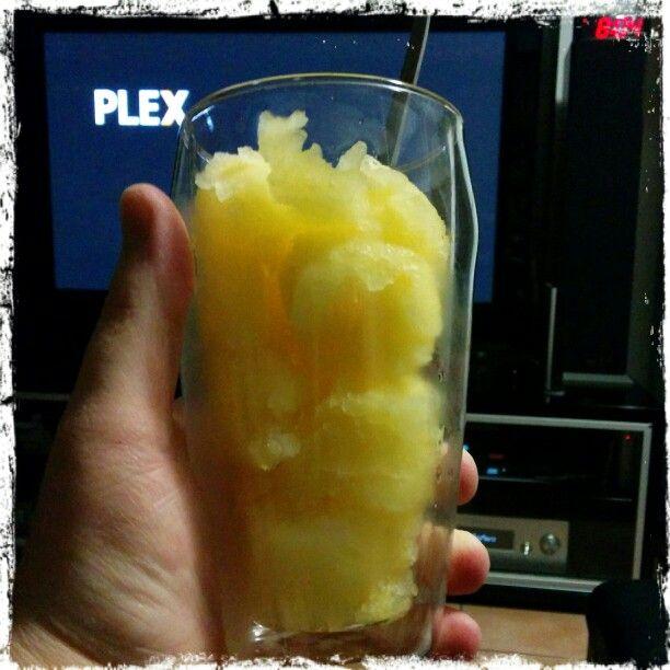 Kicking back with X-Men on PLEX,  lamb chops and a yummy frozen mango Vodka  sorbet.