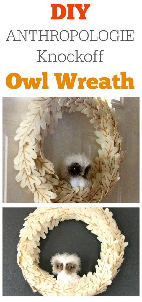 DIY Anthropologie Knockoff Owl Wreath