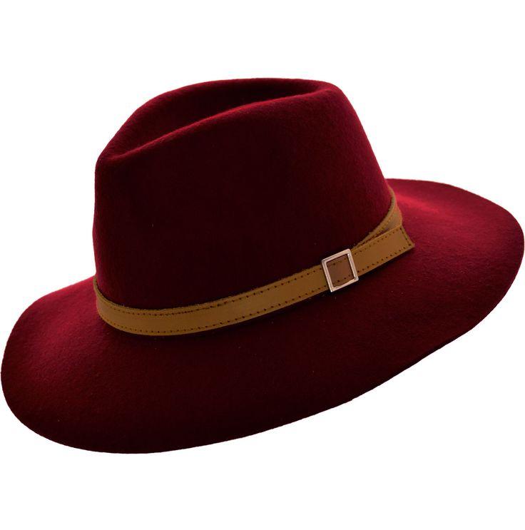 SOMBRERO AUSTRALIANO FIELTRO UNIK Sombrero de fieltro de lana 100% Copa partida y detalle de cinto de cuero con hebilla $ 985.00