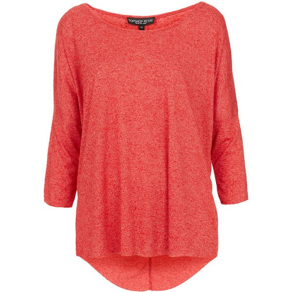 TOPSHOP Petite Fleck Oversized Top ($36) ❤ liked on Polyvore