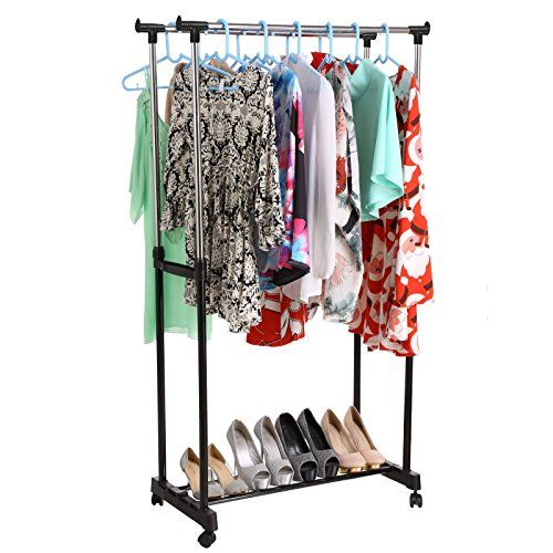 homdox heavy duty clothes rack double rail adjustable rolling garment rack homdox http