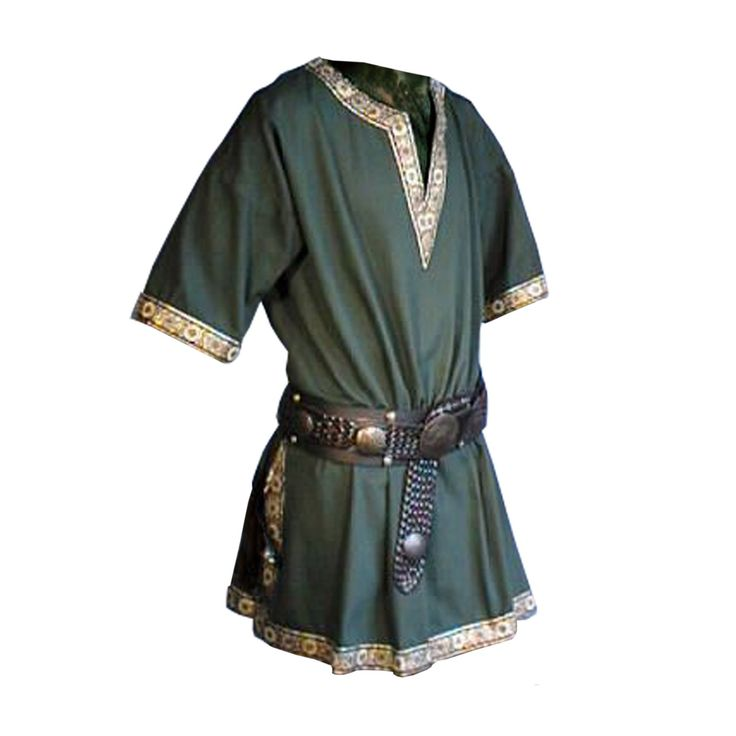 The common T-shape style tunic dates back the 12th century and was worn by all classes throughout the Middle Ages. No cuts and layouts, its simple pattern is a combination of geometric shapes: fitted top front and back panels, slightly flared bottom, long tapered sleeves, and a wide round neckline.