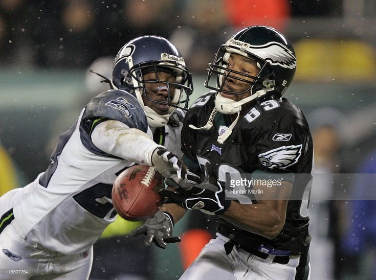 Seahawks defensive back Marcus Trufant (23) breaks up a pass intended for Eagles wide receiver Greg Lewis (83) at Lincoln Financial Field. Seattle Seahawks at Philadelphia Eagles, Philadelphia, Pa. , Monday, December 5th, 2005.