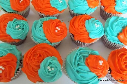 Orange and Turquoise Red Velvet Wedding Cupcakes « The Cupcake Blog