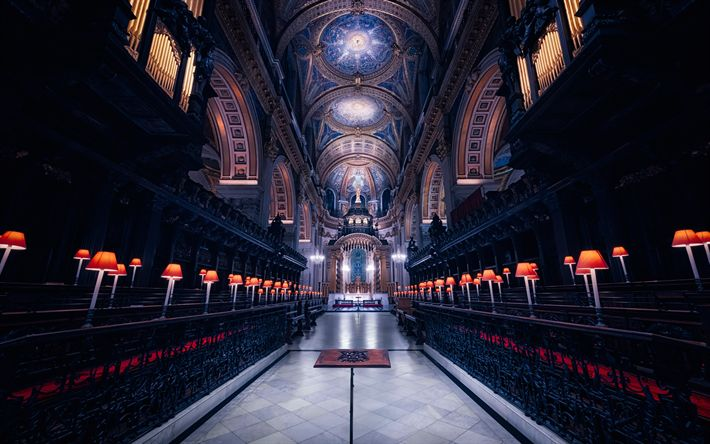 Download wallpapers St Pauls Cathedral, London, Anglican Cathedral, Renaissance Architecture, English Baroque, interior, England, United Kingdom