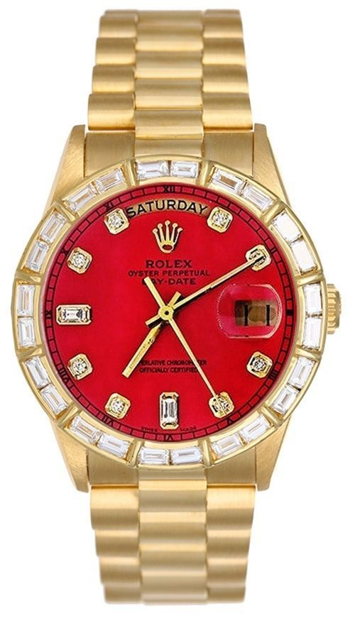 Rolex Mens President Yellow Gold Watch, Red Diamond Dial & Bezel, President Band #Rolex #Fashion - mens rose gold jewelry, affordable mens jewelry, designer mens jewelry