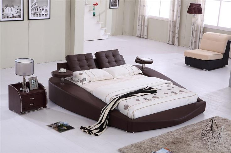 Round Bed, King size bed Top Grain Leather headrest round Soft Bed