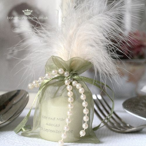 Pearl tie wedding favour candle www.bohemiandreams.co.uk