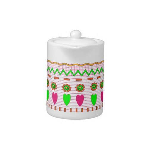 A very fresh look design in brights yellow, green and red with zigzags, flowers and hearts it looks fantastic on these quality products. #zigzag #pattern #flowers #hearts #bright #neon #green #pink #yellow #girly #fresh #red #girls #pretty #patterns #repeat #pattern #heart #tea #coffee #pot #pots #teapot #coffee #pot #tea #set #tea #sets #coffeee #set #coffee #sets #kitchen #kitchenware #wedding #new #home #gift #gifts #present #presents #ideas #asseccories