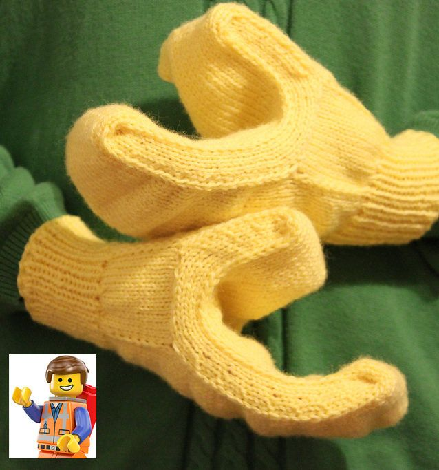 Free Knitting Pattern for Lego Hand Mittens - Designed by Carissa Brown to resemble the molded plastic hands of Lego people. Great for costumes or play. Sizes from baby through adult. 0-2 years[3-5 years, 6-9 years, 10 years-Adult S, Adult M, Adult L]