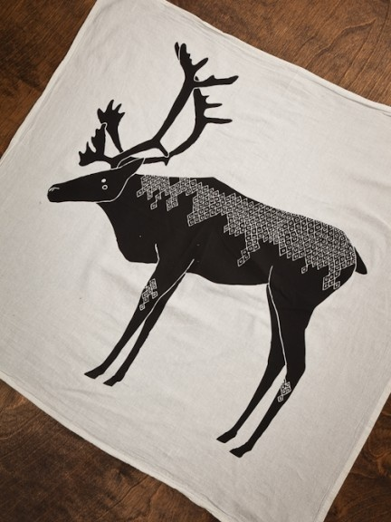 Screen Printed Caribou Tea Towels by Gingiber for BourbonandBoots.com