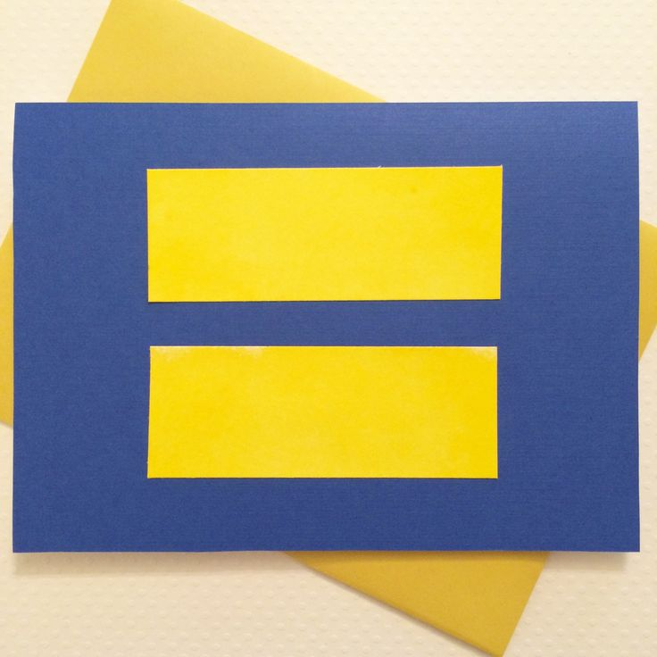 Love Wins Yellow on Blue Equal Sign Card