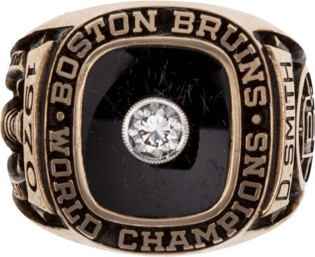 A Stanley Cup Championship ring presented to the Boston Bruins' Dallas Smith after the famous 1970 victory.
