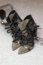 Cuña de Isabel marant botas 100% cuero genuino señaló dedo del pie con cordones botas de gladiadores de tiras con tacón alto size35-41(China (Mainland))