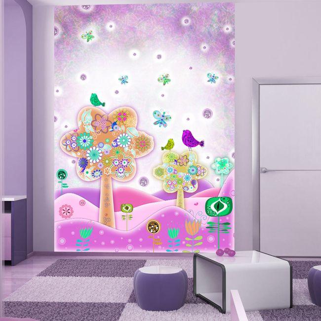 Fotomural decorativo Árbol del pájaro es nuestro ejemplo para las habitaciones infantiles. Este mundo de ensueño caerá bien a cada pequeña princesa ♛