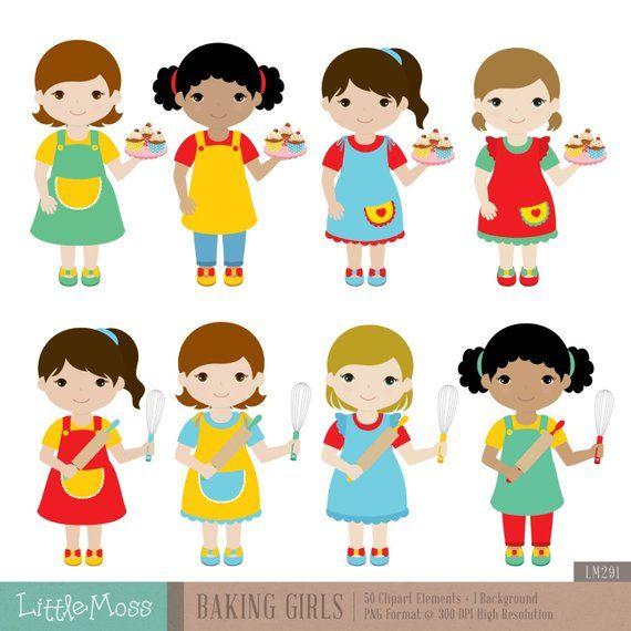 Baking Girls Digital Clipart Etsy Bonecas Fofas Whatsapp Fundo Toppers De Bolo