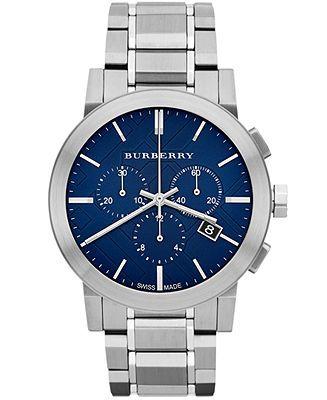 Burberry Watch, Men's Swiss Chronograph Stainless Steel Bracelet 42mm BU9363 - Burberry - Jewelry & Watches - Macy's