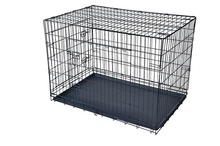 48' 2 Door Pet Cage Folding Dog w/Divider Cat Crate Cage Kennel w/Tray LC ^^ Check this awesome image  : Dog kennels