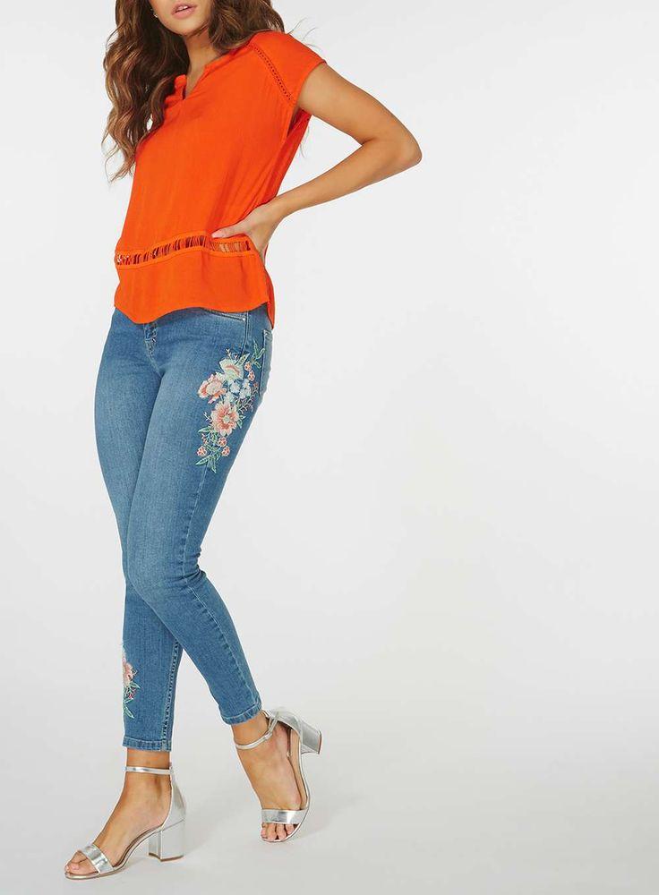 Womens **Vero Moda Orange Crochet Detail Top- Orange