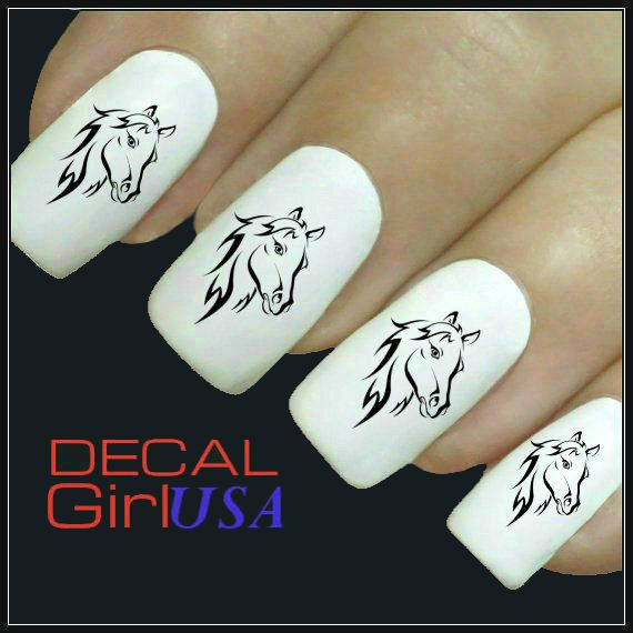 Nail Art Decals 32 Horse Nail Decals by DecalGirlUSA on Etsy, $3.99
