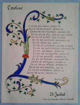 Cadeau de naissance personnalisé avec le prénom , très beau poème sur la vie de Mère Térésa sur la vie , calligraphié et enluminé , doré en relief au pinceau , réalisé dans notre atelier à Guérande , grands choix de cartes de naissance , paiement sécuris