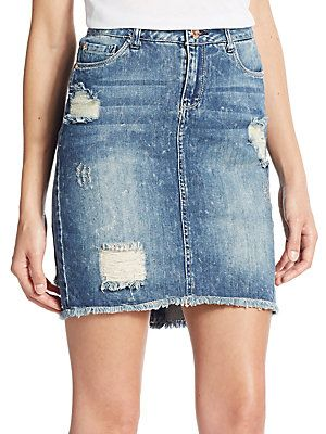 Kensie jeans Distressed Denim Mini Skirt - Jill - Size 28 (4-6)