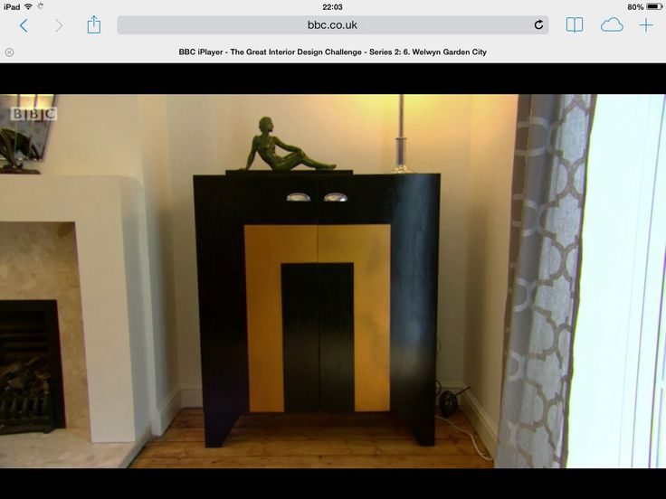 Art Deco tv cabinet made by me on the 'great interior design challenge' www