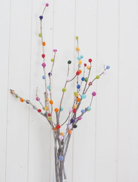 DIY Easter decoration with small pom poms