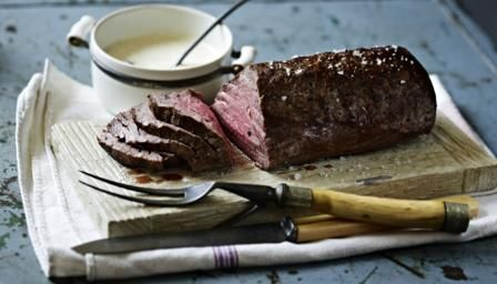 Roast fillet of beef with roasted garlic and mustard cream via Mary Berry