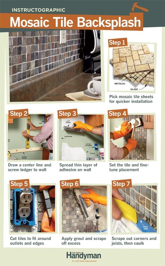 diy tutorial how to install a mosaic tile backsplash in