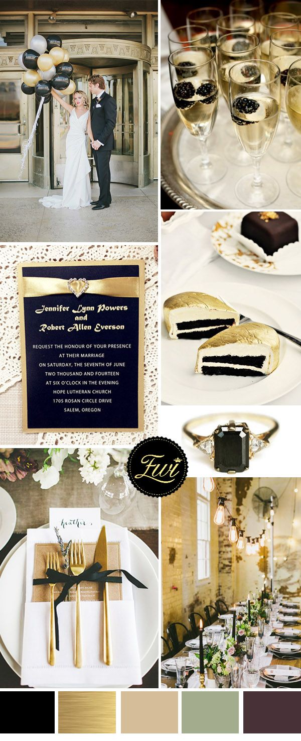 metallic light gold and black vintage wedding color ideas and invitations